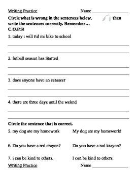 COPS Writing Practice Quiz (2)