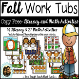 COPY FREE- Fall Themed Work Tub Activities