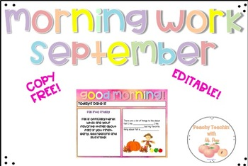 COPY-FREE MORNING WORK - FULL MONTH OF SEPTEMBER - EDITABLE - 2ND OR 3RD GRADE