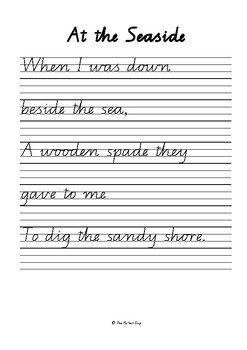 COPYWORK: Poetry by Robert Louis Stevenson - Qld Modern Cursive Font