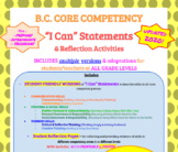 "BC CORE COMPETENCIES ""I Can"" Statements REFLECTION strips & journal - Grades 3-6"