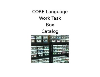 CORE LANGUAGE CATALOG FOR INDEPENDENT WORKTASKS- Preview