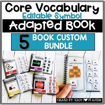 CORE Vocabulary Editable Symbol Adapted Book Custom Order - You Pick 5 Books!