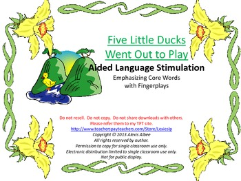 CORE WORDS Book - Five Little Ducks Went out to Play