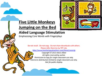 CORE WORDS Book - Five Little Monkeys Jumping on the Bed