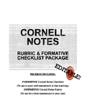 CORNELL NOTES Rubric + Formative Checklist Worksheet Activ