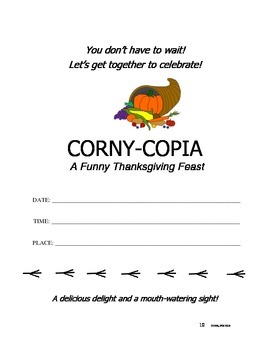 CORNY-COPIA ~ A funny Thanksgiving feast!