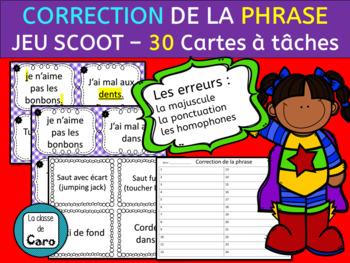 CORRECTION DE LA PHRASE - CARTES  À TÂCHES - JEU SCOOT  FRENCH FSL
