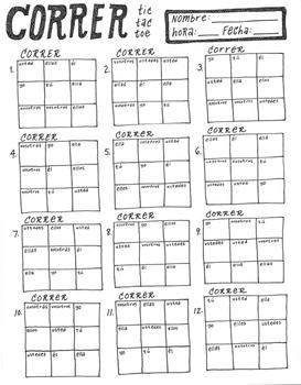 CORRER ~tic tac toe ~Spanish verb conjugation game -ER verbs NO PREP