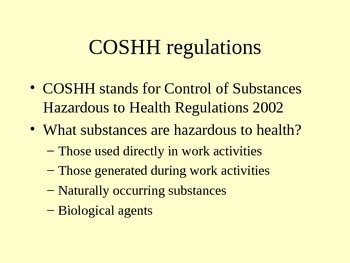 COSHH & Chemicals - Science