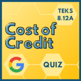 COST OF CREDIT Digital Quiz for TEKS 8.12A (Google Forms + PDF)