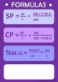 COST PRICE, SELLING PRICE, % MARK UP - FORMULAS - POSTER