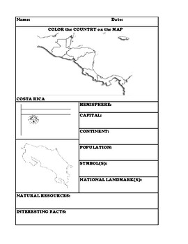 COSTA RICA COUNTRY RESEARCH WORKSHEET