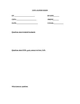 COTA supervision form