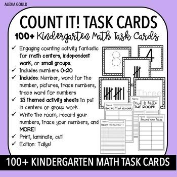 COUNT IT!  TASK CARDS (100+) & KINDERGARTEN MATH CENTERS- Tallys