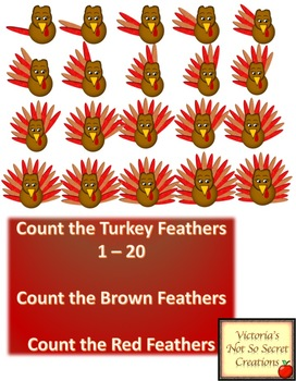 COUNT THE TURKEY FEATHERS 1 - 20 Count the Brown & Red Feathers CLIPART