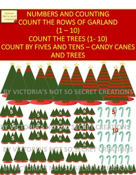 COUNTING 1 - 10 - BY Fives and Tens - Trees,Garland Candy Canes CLIPART