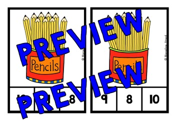 COUNTING ACTIVITIES: PENCILS COUNTING CLIP CARDS: NUMBERS 1-20 COUNTING CENTER