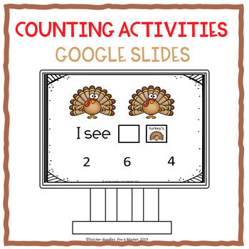 COUNTING ACTIVITIES THANKSGIVING GOOGLE SLIDES