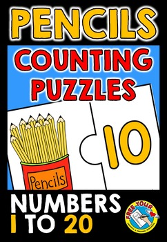 COUNTING CENTER: PENCILS COUNTING PUZZLES:KINDERGARTEN BAC