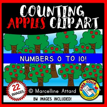 MATH CLIPART: COUNTING CLIPART: COUNTING APPLES CLIPART: APPLE THEME CLIPART