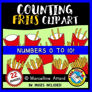 COUNTING CLIPART: COUNTING FRENCH FRIES CLIPART: FOOD CLIPART