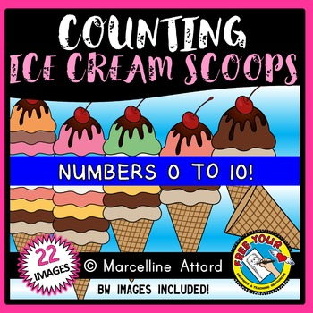 COUNTING CLIPART: COUNTING ICE CREAM SCOOPS CLIPART: SUMMER CLIPART