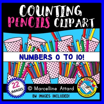 COUNTING CLIPART: COUNTING PENCILS CLIPART: BACK TO SCHOOL CLIPART