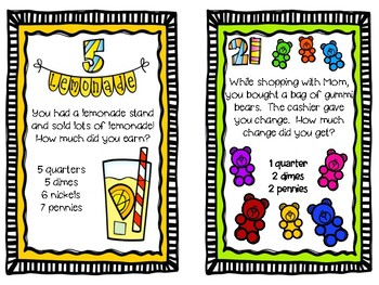 MATH TASK CARDS:  COUNTING COINS: Grades 1 - 3
