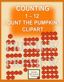 COUNTING   COUNT THE PUMPKINS 1 - 12 CLIP ART PNGS