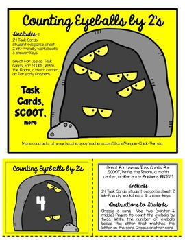 COUNTING EYEBALLS by 2's  Task Cards and Worksheets  HALLOWEEN SCOOT!