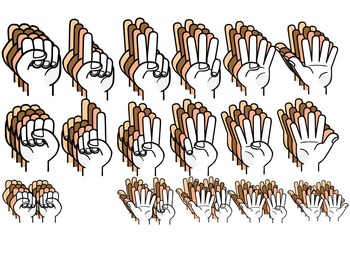 COUNTING FINGERS CLIP ART- COUNTING ON HANDS  72 IMAGES- COMMERCIAL USE