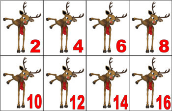 COUNTING IN 2'S Christmas Counting Cards 2's 0-100