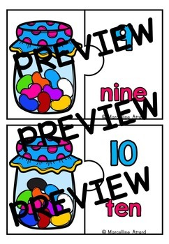 SPRING COUNTING ACTIVITIES: NUMBERS TO 10 CENTER: JELLYBEANS COUNTING PUZZLES