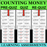 COUNTING MONEY Bills and Coins QUIZZES 3 Forms Learning As