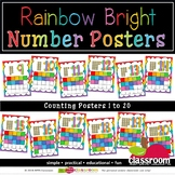 COUNTING NUMBER POSTERS Up to 20  - RAINBOW BRIGHT CLASSRO