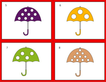 COUNTING TASK CARDS/MATCHING GAME (UMBRELLAS)