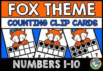 COUNTING/ SUBITIZING ACTIVITIES: FOX MATH CENTER: TEN FRAMES CLIP CARDS