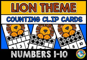 COUNTING/ SUBITIZING ACTIVITIES: LION MATH CENTER: TEN FRAMES CLIP CARDS