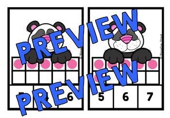 COUNTING/ SUBITIZING ACTIVITIES: PANDA MATH CENTER: TEN FRAMES CLIP CARDS