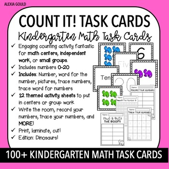 COUNT IT! TASK CARDS (100+) & KINDERGARTEN MATH CENTERS- Dinosaurs