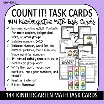 COUNT IT! (Rainbows) KINDERGARTEN MATH TASK CARDS- Counting and Cardinality