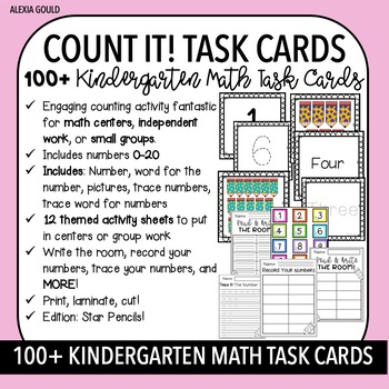 COUNT IT! (Star Pencils) KINDERGARTEN MATH TASK CARDS- Counting and Cardinality