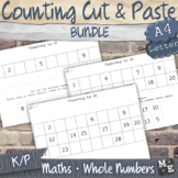 COUNTING TO 30 BUNDLE Cut and Paste to 10, 20 and 30 Worksheets