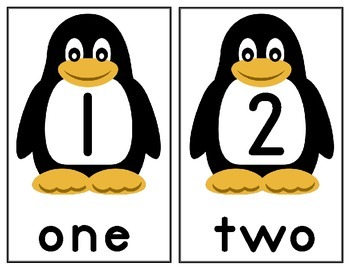 COUNTING WITH PENQUINS FLASHCARDS