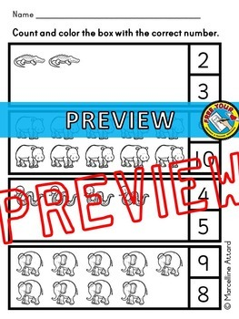 COUNTING WORKSHEETS (COUNTING PICTURES) NUMBERS 1 - 10 COUNTING PRINTABLES