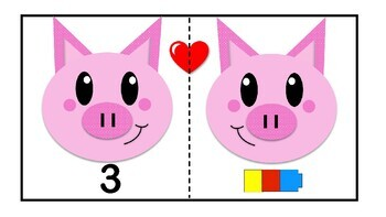 COUNTING activity Valentine Center connecting cubes Spanish&English prek-kinder