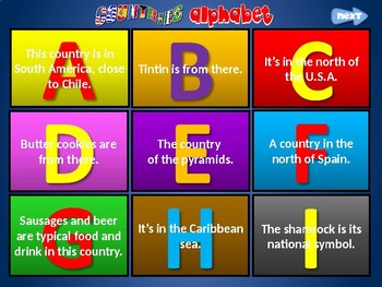 COUNTRIES ALPHABET GUESSING GAME. PowerPoint