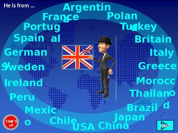 COUNTRIES AND NATIONALITIES QUIZ GAME with demonyms. PowerPoint