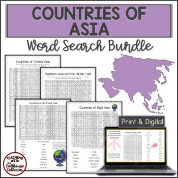 COUNTRIES OF ASIA Word Search Bundle